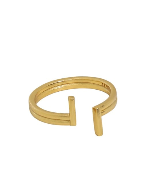 18K gold [14 adjustable] 925 Sterling Silver Irregular Minimalist Band Ring